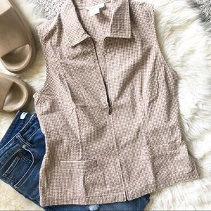 Talbots Brown Gingham Check Fitted Zip Front Top